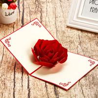 casal de cartões de casamento venda por atacado-Rosa 3D Pop Up Cartão Carve Amantes do Presente do Dia Dos Namorados Tanabata Festival Romântico Casal Aniversário Cartões de Convite de Casamento 5 8hp bb