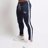 erkekler siyah sıska pantolon toptan satış-Erkek Joggers Rahat Pantolon Spor Erkekler Spor Eşofman Dipleri Sıska Sweatpants Pantolon Siyah Spor Salonları Jogger Parça Pantolon
