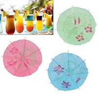 ingrosso tavolo ombrello-DHL Ombrello Parasol Cocktail Picks Cupcake Toppers con allegato Picks in legno 100pcs una borsa Accessori Decorazione tavola