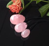 masajeador de sexo vaginal al por mayor-Huevos de cristal de cuarzo rosa natural Huevo de cristal Yoni para mujeres Ejercicio de Kegel Bolas vaginales Masajeador Juguetes sexuales