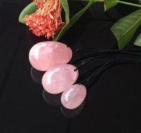 ingrosso massaggiatore sessuale vaginale-Uova di cristallo di quarzo rosa naturale Uovo di cristallo Yoni per le donne Kegel Esercizio Palline vaginali Massaggiatore Giocattoli del sesso