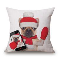 ingrosso cuscino beige-Cuscino per cappello natalizio Pug Cuscino per cane e gatto Custodia per cuscino natalizio beige 45x 45cm Divano letto Decorazione