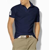 новые мужские рубашки поло оптовых-Оптовая 2018 лето новый старший мужская рубашка поло мужская с коротким рукавом повседневная мода рубашки поло мужская сплошной цвет отворотом рубашки поло
