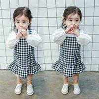 Wholesale Kids Pocket Dress - New Arrivals girl ruffles dress high quality plaid print girl dress double pockets kids dress