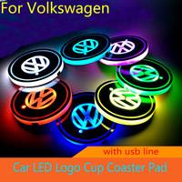 led mat aydınlatma toptan satış-2 adet / takım Volkswagen VW R logo işık Golf GTI Scirocco B6 Touran Tiguan MK POLO Araba Led Parlak Su Bardağı Mat Işık Coaster Atmosfer Işık