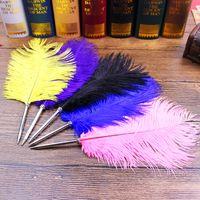 feder kugelschreiber großhandel-11 Farben Straußenfeder Quill Kugelschreiber Für Hochzeitsgeschenk Büro Schulbedarf Füllfederhalter