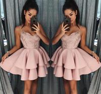vestidos de fiesta de otoño al por mayor-Dusty Rose Vestidos de Fiesta Cortos 2018 Nuevas Correas de Espagueti de Otoño Una Capa de Líneas Vestido de Cóctel Lentejuelas de Encaje Mini Vestidos de Baile BA9891