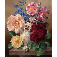 ingrosso vaso di peonia-Elegante Baise Vase Digital Painting Peony Floral Paintworks Paint By Number Chic Stile classico Decorazione per la casa 40x50 XC-006