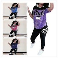 Wholesale Leopard Hot Pants - Pink Letter Print Short Sleeve 2 Pieces Outfits love pink Jumpsuit Sport Sweatsuit T-shirt + leggings pants Crop Top Long Pant girls hot