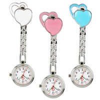 Wholesale Heart Shape Tags - Hot wholesale double love heart shape ladies women nurse watches unisex hospital medical doctor FOB pocket hang clip watches