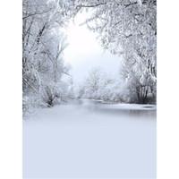 fotos de rio al por mayor-Árboles de nieve congelados Stilly River Fotografía Telón de fondo Vinilo Niños Niños Invierno Escénico Foto Estudio Retrato Fondos