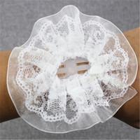 inci bilezik dantel çiçek toptan satış-Diy nedime Bilek Corsages Dekoratif Dantel Gelin El Çiçeği İnci Bilezik Düğün Balo Buket Parti Favor