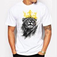 ingrosso camicia di stampa di leone-Maglietta stampata per uomo, manica lunga, modello King Of Lion, maglietta stampata, magliette divertenti, pantaloni a vita bassa, colletto per uomo