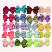 гладкие луки оптовых-5pcs/lot 3inch Solid Color Plain Grosgrain Hair Bows Clip Girls Hairpins Hairgrips Fashion Hair Accessories