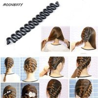 ingrosso accessori per capelli per trecce-MOONBIFFY Donna Signora francese intrecciatura dei capelli Strumento Roller Hook Roller con Magic Hair Twist Styling Bun Maker Band Accessori