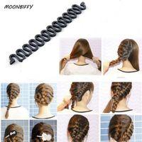 волшебный валик для волос оптовых-MOONBIFFY Women Lady French Hair Braiding Tool Braider Roller Hook With Magic Hair Twist Styling Bun Maker Band Accessories