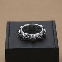 marca dom venda por atacado-novas jóias de prata anéis marca 925 esterlina American Vintage design estilo da banda para a forma das mulheres dos homens da estrela frete grátis dom anel único