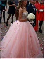 Wholesale best ball gown wedding dresses for sale - 2018 Cheap Best selling elegant off the shoulder Pink wedding dresses Floor Length Tulle Ball Gown Sweetheart Crystal Beaded bridal dresses