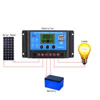 12v controlador solar lcd al por mayor-Regulador de carga solar de Freeshipping 10A 12V / 24V LCD con el contador de tiempo automático del regulador para el panel solar Batería de la lámpara LED que enciende la protección de la sobrecarga