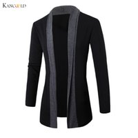 Wholesale Long Sweater Trench Coat - Wholesale-2017 men Jacket Winter Jackets mens Fashion Clothing Trench Coat Sweater Slim Long Sleeve Cardigan Warm coats male Outwear GBY0h
