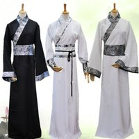 Chinese Men Ancient Mandarin Robe Long Gown Ip Man Costume Stage Dress With Hat