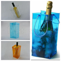 Wholesale transparent pouches - Durable Transparent PVC Champagne Wine Ice Bag 11*11*25cm Pouch Cooler Bag with Handle Portable Clear Storage Outdoor Cooling Bags OOA5117