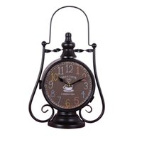 Wholesale iron cabinets - Fashion loft wrought iron desk clock vintage living room wine cabinet home bedside two-sided clock deciration the home