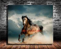 kahverengi tuval resmi toptan satış-Kahverengi At Koşu, Tuval Adet Ev Dekorasyonu HD Baskılı Modern Sanat Tuval Üzerine Boyama (Çerçevesiz / Çerçeveli)