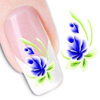 ingrosso chiodi floreali blu-1 pezzo blu orchidea fiore verde lasciare nail art decalcomanie bellezza acqua trasferimento nail sticker trasporto di goccia