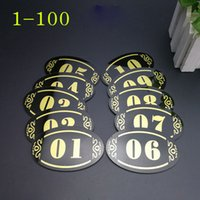 Wholesale Number Plate Stickers - 5*8cm Acrylic Store Hotel Adhesive Door Table Sign Plate Storage Cabinet Shelf Number Sign Sticker Party DIY Decoration YYA1194