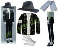 sombreros de lentejuelas negro al por mayor-MJ Michael Jackson Billie Jean trajes chaqueta con lentejuelas + pantalones + sombrero + guante + calcetines niños adultos muestran con lentejuelas negro Pacthwork 4XS-4XL
