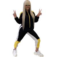 trainingsanzug frauen großhandel-Herbst 2 Stück Set Frauen Trainingsanzug Sportbekleidung Reißverschluss Sweatshirt Jacke und Kordelzug Sweat Pants Set Damen Workout Trainingsanzüge