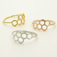 Wholesale pc honeycomb for sale - 20pcs New Fashion Honeycomb Shape And Linked Hexagon Finger Ring For Women Birthday Gift One Pc