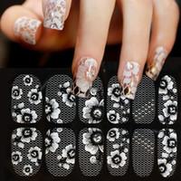 ingrosso decalcomanie di pizzo-1 foglio 3d acqua decalcomanie nail art adesivi pizzo bianco sulle unghie di tarassaco adesivi per unghie decorazioni per auto manicure manicure z005