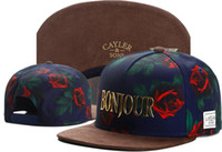 Wholesale green flower street - 2018 Fashion hip CAYLER & SONS Snapback Bonjour rose flower Cap Baseball Hats,Sport Street Ball caps,Athletic Outdoor Headwears Streetwear