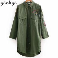 chaqueta de estilo militar al por mayor-Diseño de parches de mujer Army Green Jacket Long Female Turn-down Collar de manga larga Relaxed Fit -style Overshirt Plus Size