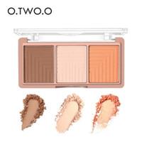 gölgeleme vurgulama tozu toptan satış-OTWO. O marka 3 Renkler Fosforlu Aydınlatıcı Pudra Paleti Makyaj Yüz Gül Altın Kontur Bronzlaştırıcı Vurgu Gölgeleme Tozu