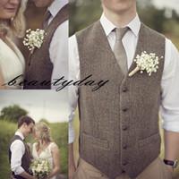 ingrosso cappotti di lana di mens grigio-Gilet di lana marrone tweed sposo gilet da sposa per groomsmen Abito da uomo Gilet da ballo abito da sposa cappotto gilet Plus Size Grigio In Stoc