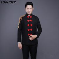 ingrosso pantaloni rossi della squadra nera-(giacca + pantaloni) abiti maschili stile cinese nero rosso ricamo blazer cantante costumi di scena coro squadra ballo di fine anno