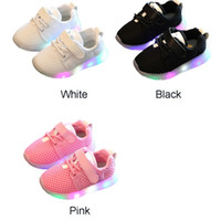 Led Luminous Shoes for sale - 2018 Spring Summer Sports LED Kids Boys Girls magic sticker Casual Breatheable Mesh Shoes Light Up funny Luminous Children Trainers Sneakers
