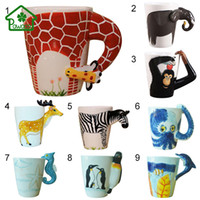 Wholesale Hand Painted Elephant - 3d Animal Giraffe Shape Hand Painted Ceramic Coffee Mugs Milk Tea Cups Cute Cartoon Elephant Dolphin Penguin Sika Deer Cups Gift