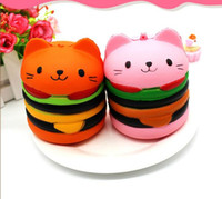 Wholesale cat squeeze - PU Jumbo Hamburger Cat Squishy Charms Toy Kawaii Squishies Burger Slow Rising Squeeze Phone Straps Pendant Stress Reliever Toys kids gift
