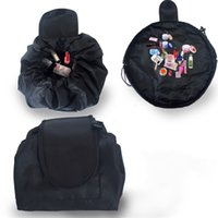 Wholesale up cosmetic bag resale online - Black Drawstring Bags Lazy Large Capacity Make Up Cosmetic Bag Portable Travel Storage Bundle Pocket js C R