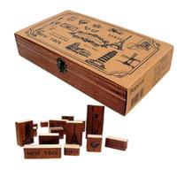 york gummi großhandel-15 teile / satz Vintage Weltlandschaft Holz Stempel Box NEW YORK PARIS Sehnte Druck Briefmarken Handwerk Scrapbooking DIY 2016