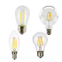 Wholesale LED Filament Light Bulbs E27 Led Lights W W W A60 Vintage Glass Edison Ampoule Led Bulb V Replace Incandescent Lamp