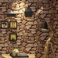 felsenwandpapier großhandel-Vintage Wall Paper Wasserdichte Tapeten Wohnkultur 3D Imitation Rock Stein Vinyltapete Für Wände Papel De Parede 3D