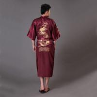 Oversize XXXL Burgundy Men s Kimono Bath Gown Chinese Style Silk Satin Robe  Embroidery Dragon Nightgown Sleepwear Pijamas MR009 1f39e6af2