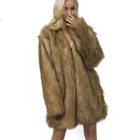 ingrosso cappotti carini corti-Cappotto corto di pelliccia Inverno Moda Donna Lungo Faux Raccoon Fur Coats Furry Cute Woman Giacca di pelliccia finta Plus Size Coat Jacket