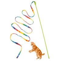 ingrosso bastoni di bacchetta di plastica-Giocattoli per gatti Carino Divertente Colorato Rod Teaser Bacchetta di plastica Giocattoli per gatti Forniture interattive Cat Stick