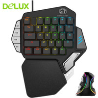 Wholesale vertical axis - Delux Wired Mouse Keyboard Combo Ergonomic Single Hand Kailh Box Switch Axis T9X Gaming Keypad + M618 Plus RGB Vertical Mice Kit